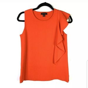 Ann Taylor Size S Orange Sleeveless Flounce Ruffle